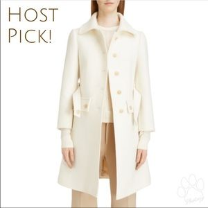 🏵HPx2🏵 CHLOÉ Belted wool-blend coat Iconic Milk